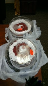 two cakes in plastic bags