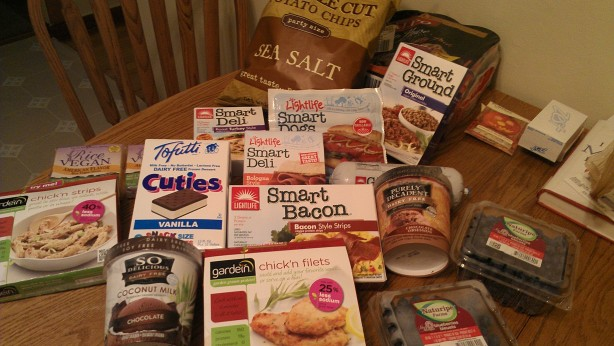 assorted vegan food in packages